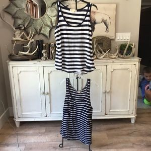 2 Michael Kors Navy White Tank Tops